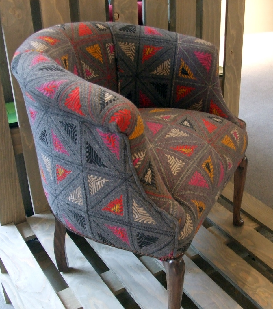 Wool Folklore by Kit Kemp for Christopher Farr Cloth chair courtesy Firmdale Hotels