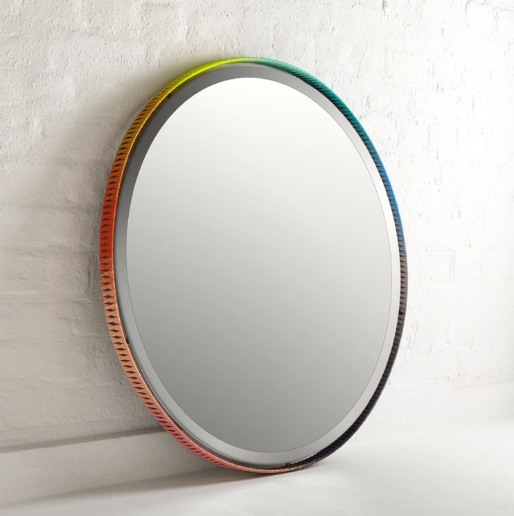 Colour Wheels mirror by Aimee Betts with John Johns at The New Craftsmen, Gareth Hacker Photography