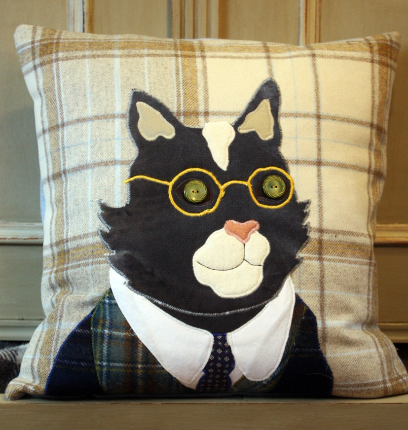 Cat tweed cushion by Alexandra Stevens for The Cotswold Tailor